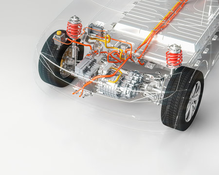 Modern electric car chassis front axle x-ray vehicle electric motor in studio environment line art 3d render