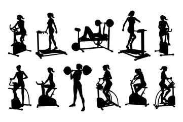 A woman in silhouette using pieces of gym fitness equipment and machines set