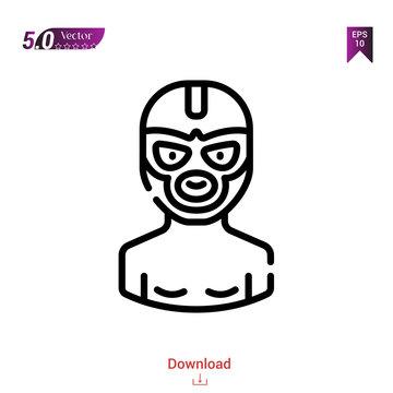 Outline wrestler icon. wrestler icon vector isolated on white background. Graphic design, material-design,sport-avatars icons mobile application, logo, user interface. EPS 10 format vector
