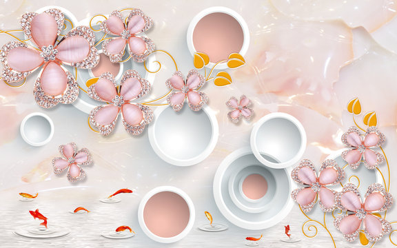 3d illustration, light pink marble background, white rings, pink glass ornamental flowers with crystals