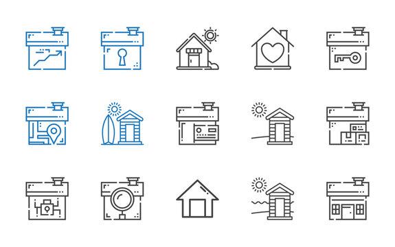 cabin icons set