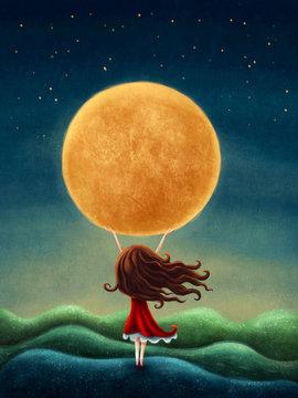 Little girl on the moon