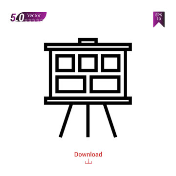 Outline storyboard  icon vector isolated on white background. Graphic design, material-design, design-thinking icons, mobile application, logo, user interface. EPS 10 format vector