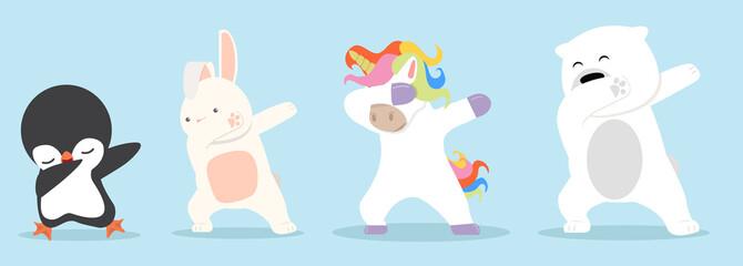 Dabbing cartoon animals dancing sign set Papier Peint
