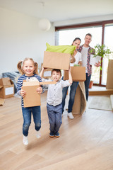 Parents and children enjoy the move