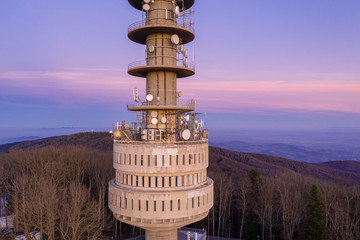 Zagreb TV Tower. Tall transmitter tower on the mountain of Sljeme in Zagreb, Croatia. Medvednica Mountain.
