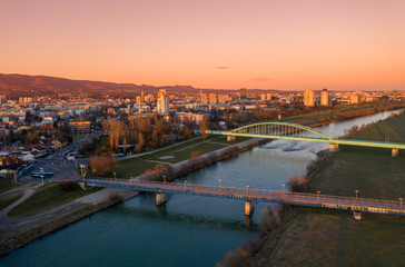Old Sava Bridge, The Hendrix Bridge in Zagreb, Croatia. Beautiful Cityscape and Sunset Light in Background.