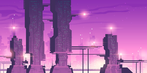 Poster Prune Future city, night town with skyscrapers with lights. Vector cartoon neon pink and purple illustration of cityscape with futuristic buildings. Cyberpunk urban landscape