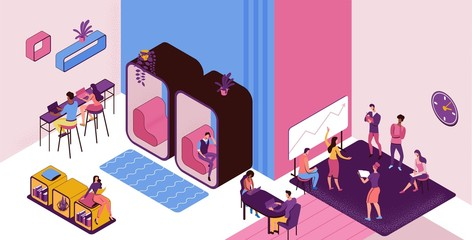 Coworking space with private phone booth, conversation room, individual workspace, freelancer working on laptop, modern office people, graphic vector illustration