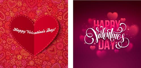 Happy Valentine's day message vintage retro vector background & banner