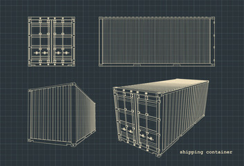 Obraz Shipping container drawings - fototapety do salonu