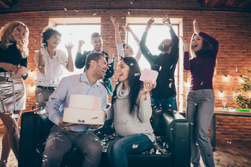 Photo of group amazing friends meeting surprise baby party wedding anniversary future parents sit...