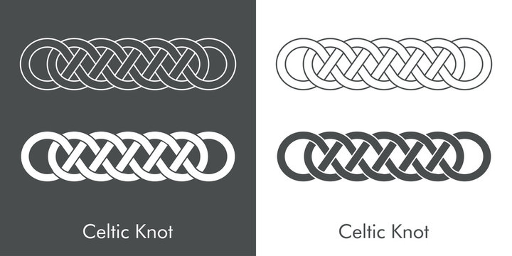 Nudo celta entrelazado en forma de marco. Icono plano lineal abstracto en fondo gris y fondo blanco