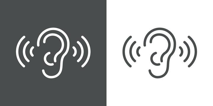 Icono plano lineal oreja con ondas de sonido en fondo gris y fondo blanco
