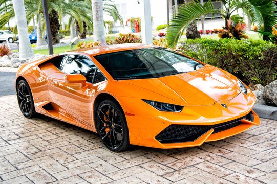 Orange luxury sport car Lamborghini Aventador