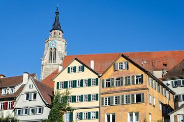 Typical German medieval town houses in Tübingen in Southern Germany