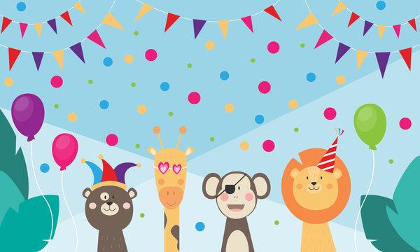 Karneval, Geburtstag, Kindergeburtstag - Banner mit wilden Tieren, die feiern und verkleidet sind, Dschungel