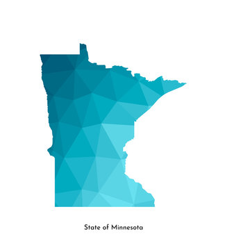 Vector isolated illustration icon with simplified blue map's silhouette of State of Minnesota (USA). Polygonal geometric style. White background