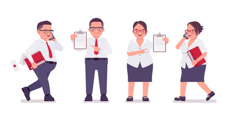 Fat male, female clerk with check list, paper. Heavy middle age business people, office manager, civil service worker, typical employee in plus size formal wear. Vector flat style cartoon illustration