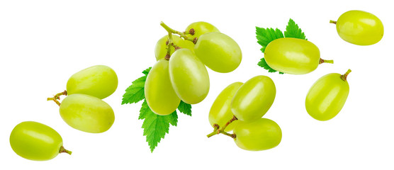 Green grape isolated on white background with clipping path Fototapete