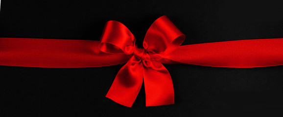 Wall Mural - Red bow on black