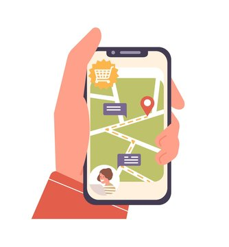 Human cartoon hand holding smartphone with map and location mark on screen vector flat illustration