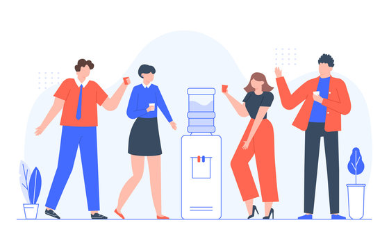 Water cooler talk. Business people group drink water and chat conversation, men and women talking. Coworkers team communication, drinking cooler water on break vector illustration