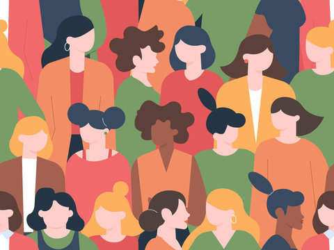 Women crowd seamless pattern. Womens characters group portraits, female community with various hairstyles. Multicultural women portrait diversity. Businesswoman faces silhouette vector illustration