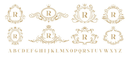 Luxury monogram. Vintage ornamental decorative monograms, retro luxury golden wreath emblem and baroque heraldic wedding frame. Luxurious whiskey or boutique emblem isolated vector icons set