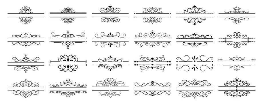 Calligraphic dividers. Decorative retro page divider borders, wedding calligraphic frame and ornamental swirls floral frames. Elegant royal ornamentation vintage vector isolated icons set