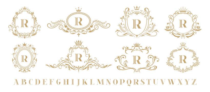 Luxury monogram. Vintage ornamental decorative monograms, retro luxury golden wreath emblem and baroque heraldic wedding frame. Luxurious whiskey or boutique emblem isolated vector icons set