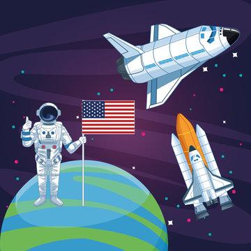 astronaut with american flag planet rocketship spacecraft space exploration