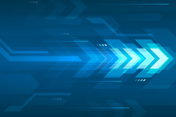 Arrow speed abstract blue background, communication data transfer technology concept. Fotomurales