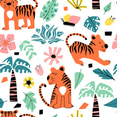 Fototapete - Seamless background with cartoon tigers