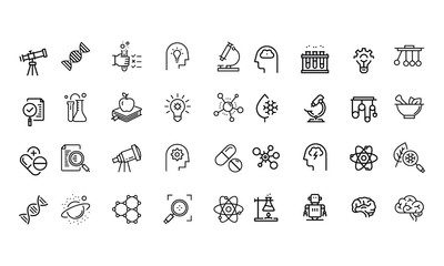 Science Icons Set vector design black and white