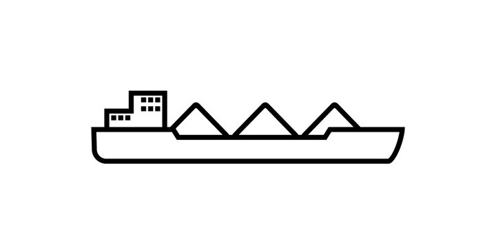 cargo ship with coal outline icon. Clipart image isolated on white background