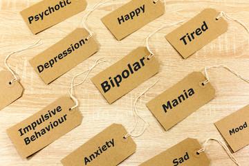Mental Health Concept highlighting Bipolar disorder and associated symptoms