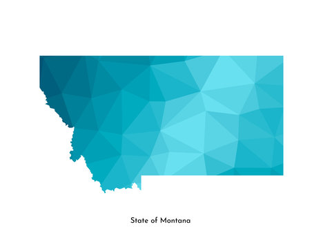 Vector isolated illustration icon with simplified blue map's silhouette of State of Montana (USA). Polygonal geometric style. White background