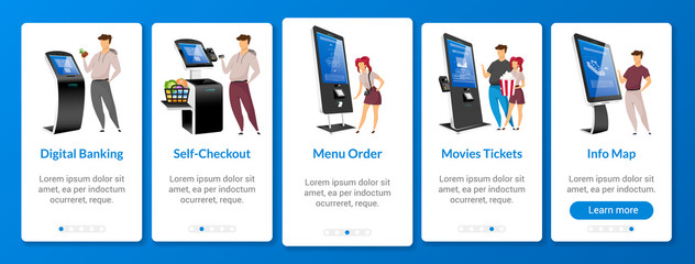 Digital banking onboarding mobile app screen flat vector template. Self order kiosk walkthrough website steps with characters. Online paying system UX, UI, GUI smartphone cartoon interface