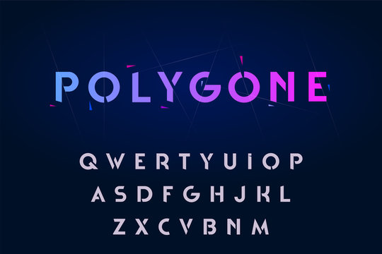 Decorative alphabet, rounded stencil sans serif style letters. Vector illustration.