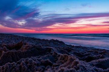 Morze Bałtyckie zachód słońca plaża