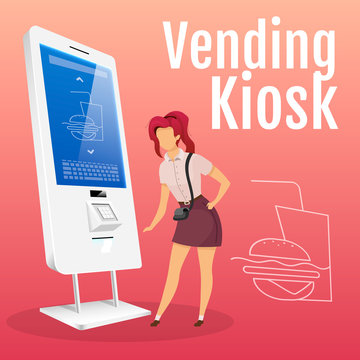 Vending kiosk social media post mockup. Woman ordering food. Self order service web banner design template. Fastfood selling machine content layout with inscription. Print ads and flat illustration