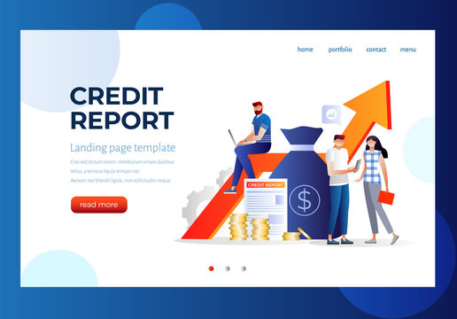 Credit report vector illustration concept, people analysis calculate credit report
