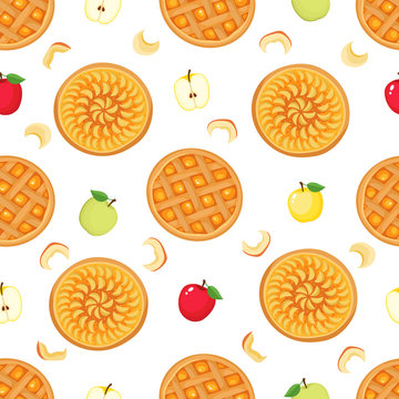Vector seamless pattern of apple, apple pie isolated on white