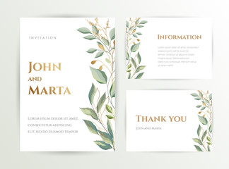 Wedding invite. Set of card with leaves and geometrical frame. Design with forest green leaves, eucalyptus, fern & golden geometric frame. Floral Trendy templates for banner, flyer, poster, greeting.  Wall mural