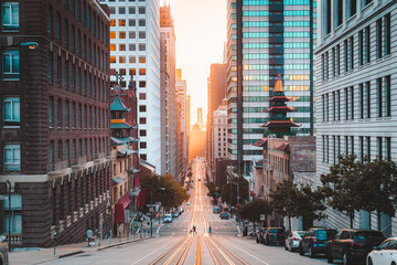 Keuken foto achterwand Ochtendgloren Downtown San Francisco with California Street at sunrise, San Francisco, California, USA