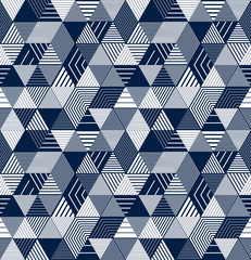 Foto auf Leinwand Dinosaurier Seamless isometric lines geometric pattern, 3D cubes vector tiling background, architecture and construction, wallpaper design.