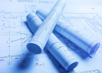 Tube blueprints construction on architect paper