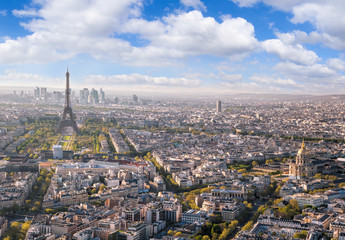 Fototapete - Panorama of Paris with Eiffel Tower in France