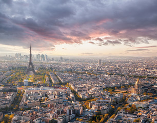Wall Mural - Panorama of Paris with Eiffel Tower against sunset in France
